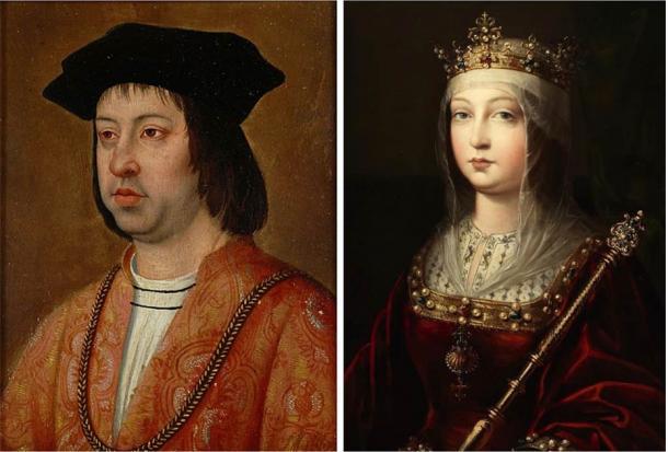 Portrait of Ferdinand II of Aragon (Michel Sittow / Public domain) and Isabella I of Castile (Luis de Madrazo / Public domain) who conquered Granada.