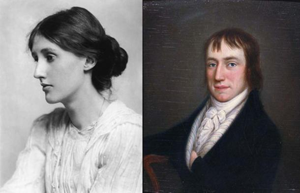 Portraits of Virginia Woolf (Public Domain) and William Wordsworth (Public Domain) – two historical figures who praised solitude.