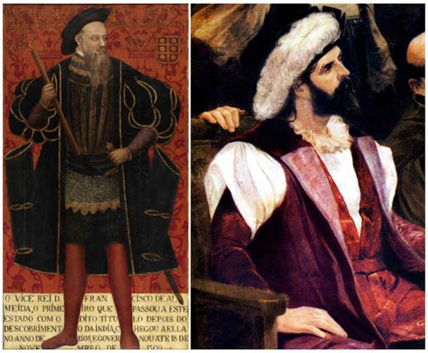 Left: Portrait of Dom Francisco de Almeida, Viceroy of Portuguese India. (Public Domain) Right: Detail of an imaginative painting showing Pedro Álvares Cabral, the first Portuguese explorer known of to reach Brazil. (Public Domain)