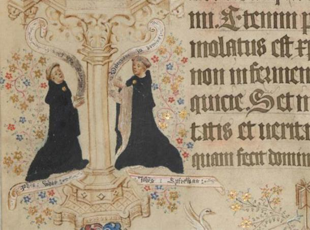 Portraits of John Whas, the scribe, and John Siferwas, the artist of the Sherborne Missal, on the page for Easter Day: Add MS 74236, p. 216 (detail). (Public Domain)