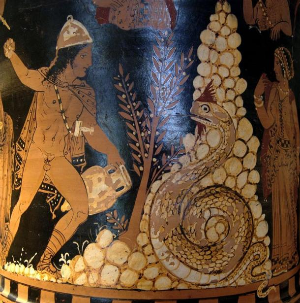 Portrayal of Cadmus fighting the dragon. Painting from a krater in the Louvre Museum, Paris.
