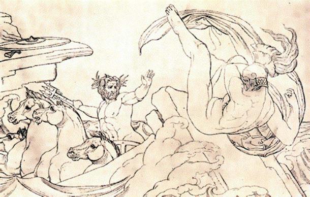 Poseidon kills Ajax the Lesser. (Public Domain)