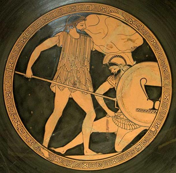 Poseidon (left) holding a trident and battling a Giant. (Bibi Saint-Pol / Public Domain)