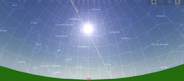 Position of the sun and stars in the 10950BC summer solstice.