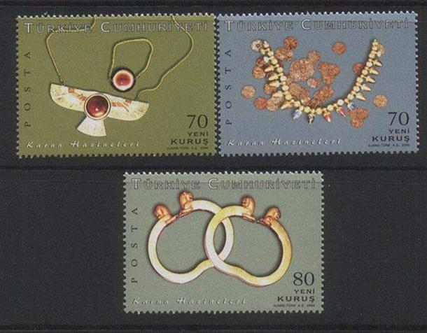 Postage stamps depicting some of the treasure.