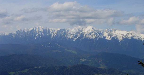 Bucegi mountains seen from Postavaru summit.