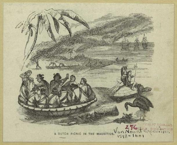 Postcard illustration of the Dutch settlers in Mauritius (Public Domain)