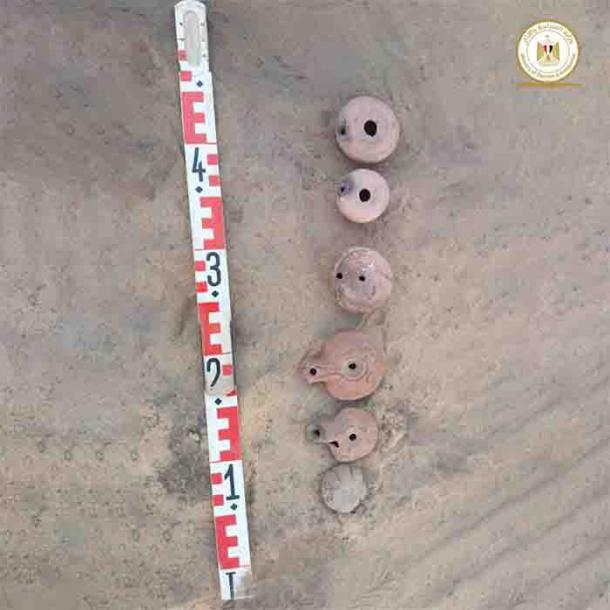 Ceramic pots found at the Shiha Fort site. (Egyptian Ministry of Tourism and Antiquities)