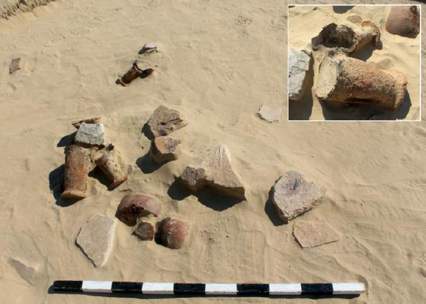Pottery fragments found at the ancient recycling site. (UAE)