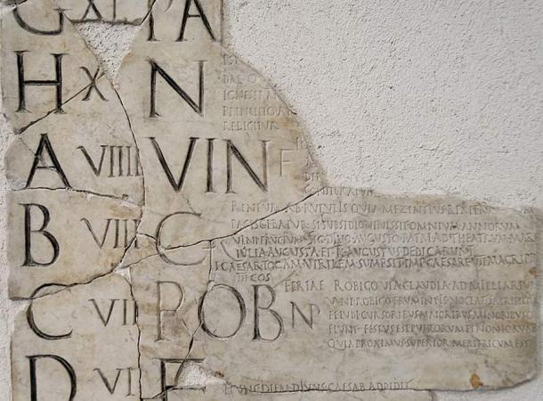 Example of a Pre-Julian Roman calendar called the 'Fasti Praenestini.