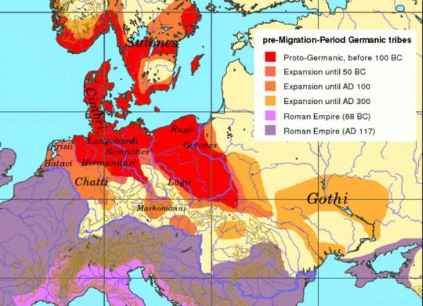 Pre-migration Period Germanic Tribe and Roman Empire territory. (CC BY-SA 3.0)