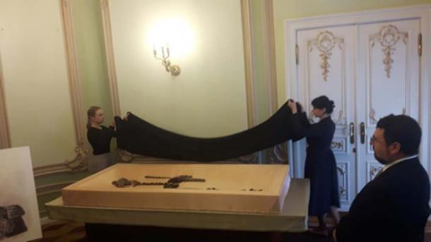 Presentation of the skeletal remains in Moscow. (Radio France - Claude Bruillot)