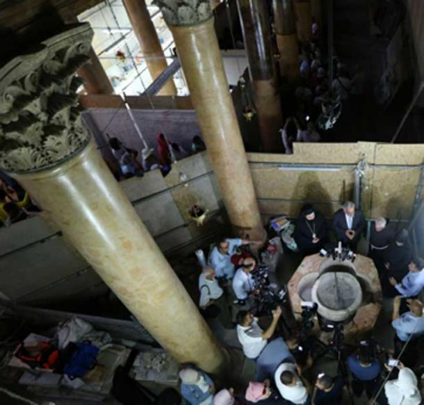 Press conference held at the holy site about the discovery of the baptismal font. (Science News / YouTube Screenshot)