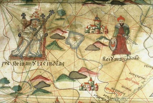 Prester John of the Indies. Close-up from a portolan chart. (The Bodleian Libraries, Oxford/CC BY 4.0)