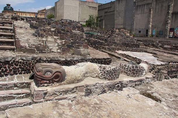 Previously excavated ruins at the nearby Templo Mayor site in Mexico City