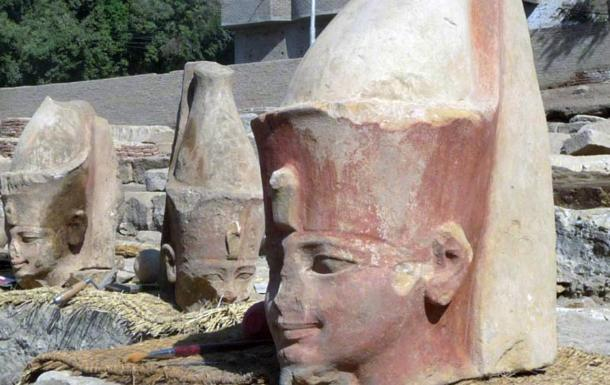 Priest heads unearthed at Armant Temple, Luxor, Egypt.