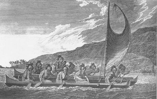Priests traveling across Kealakekua bay in the book Hawai`i Looking Back: An illustrated History of the Islands. Artist John Webber aboard Cook's ship (Pubic Domain)