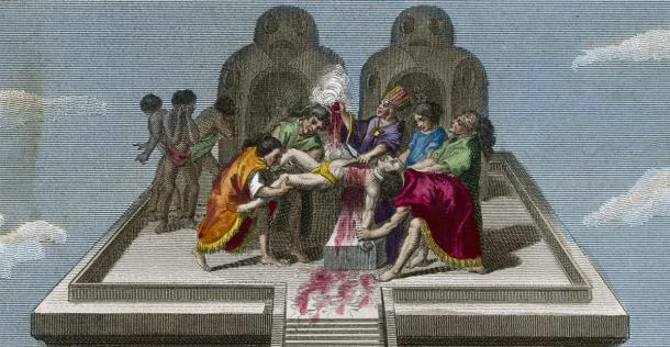 Priests of Tenochtitlan Sacrifice Victims to their Gods. Date: circa 1500. Credit: Archivist / Adobe Stock