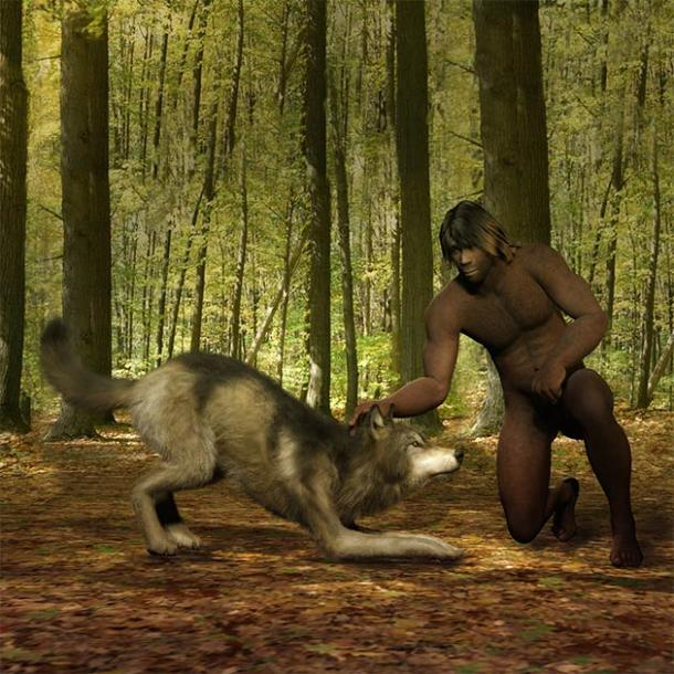 Primeval man taming a wolf. (crimson / Adobe Stock)