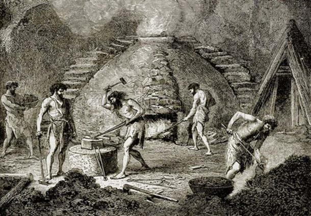 Primitive furnace of the bronze age. Illustration from The Story of Man by J W Buel (Historical Publishing Co, 1889). (Kim Støvring /CC BY 2.0)