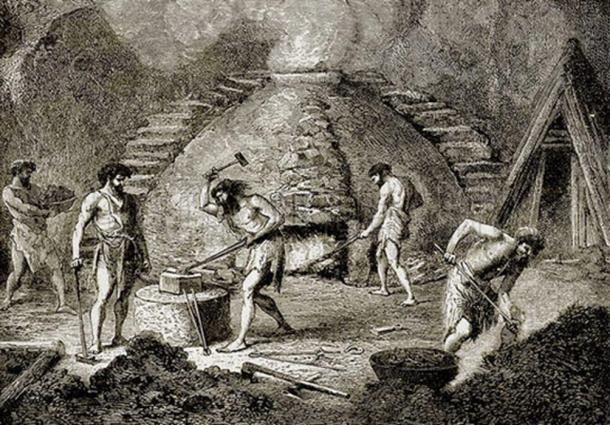 Primitive furnace of the bronze age