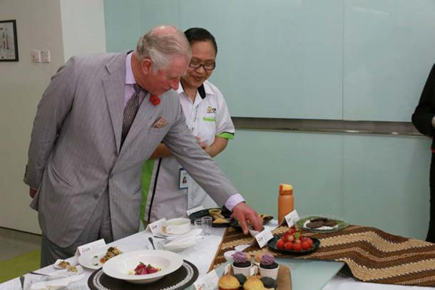 Prince Charles samples some 'forgotten foods'.