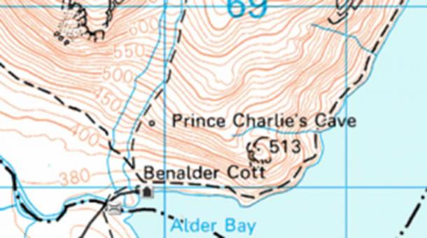 Prince Charlie's Cave is marked on maps, but no known cave is found at the site.
