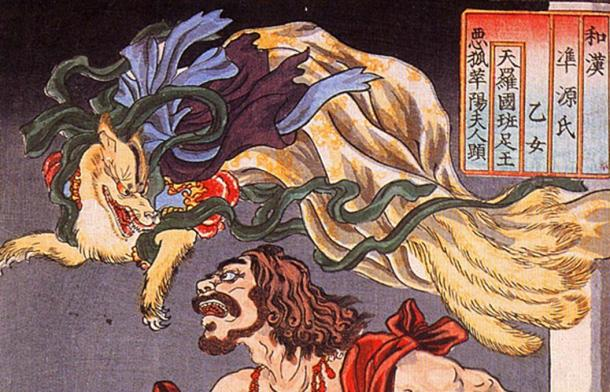 Prince Hanzoku terrorized by a Kitsune. Source: Petrusbarbygere / Public Domain.