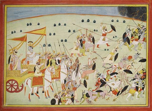 From the Mahabharata, Krishna and Pandava Princes fight demons