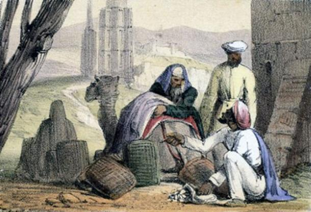 Print showing cowrie shell money being used by an Arab trader. (Andy king50 / Public Domain)