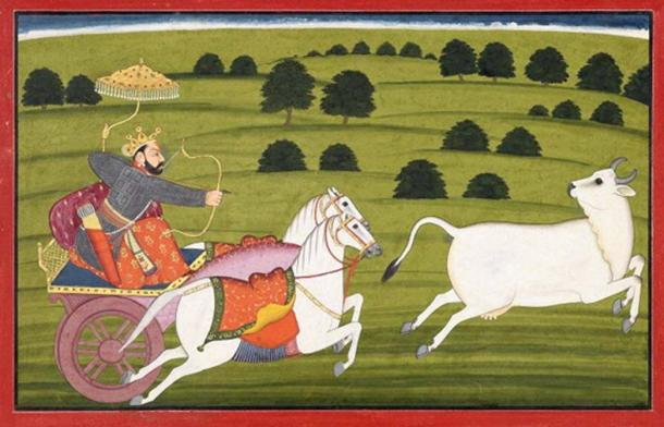 Prithu chasing Prithvi, who is in the form of a cow. (Public Domain)