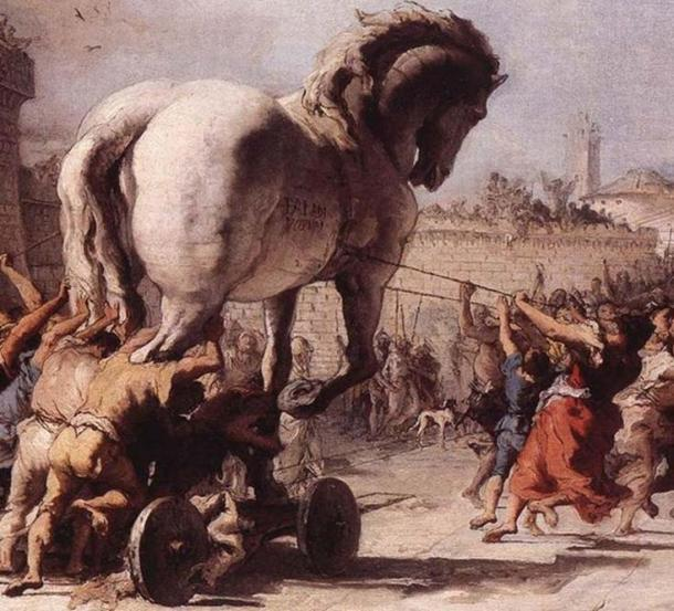 'The Procession of the Trojan Horse in Troy.' (Public Domain) Although it looks impressive, there was no real Trojan Horse.