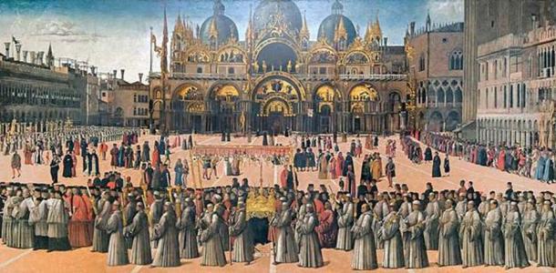 'Procession of the True Cross' in Venice by Gentile Bellini. (Public Domain)