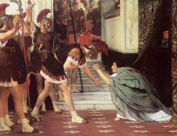 Proclaiming Claudius Emperor. (1867) By Lawrence Alma-Tadema. In one version of the tale of Claudius' rise as the Emperor of Rome the Praetorian Guard found him hiding behind a curtain after Caligula's death and proclaimed him as the emperor.
