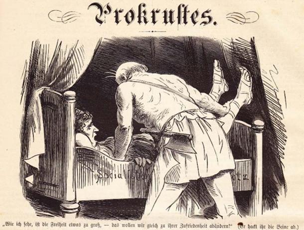 A modern representation of 'Procrusean Bed' Caricature from 19th century German satirical magazine (Public Domain)