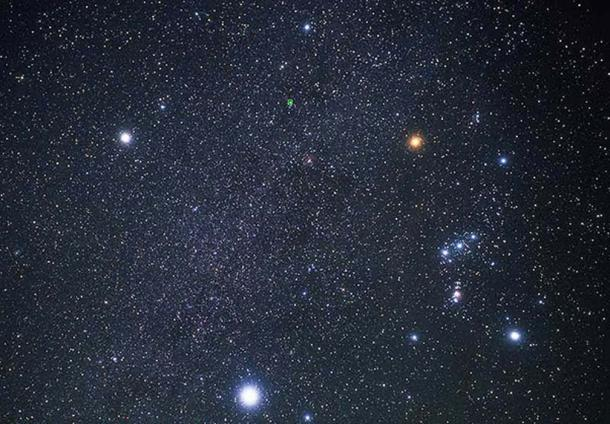 Procyon (top left), Betelgeuse (top right), and Sirius (bottom) form the Winter Triangle. Orion is to the right. (Public Domain)