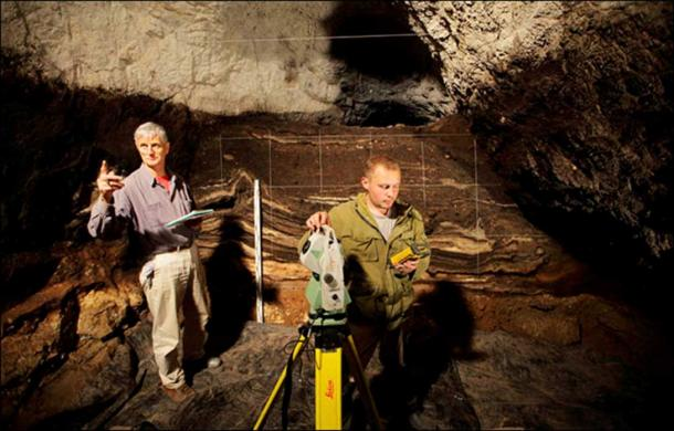 Professor Richard 'Bert' Roberts (left) and Dr Maxim Kozlikin (right) in Denisova cave. Picture: Richard Roberts