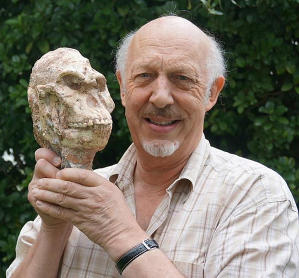 Professor Ron Clarke from Wits University is shown with skull of Little Foot.
