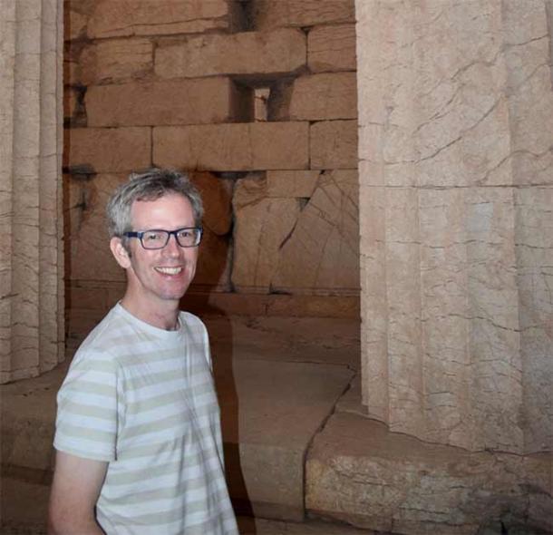 Professor Tim Whitmarsh at the Temple of Apollo at Bassae, Greece. (University of Cambridge)