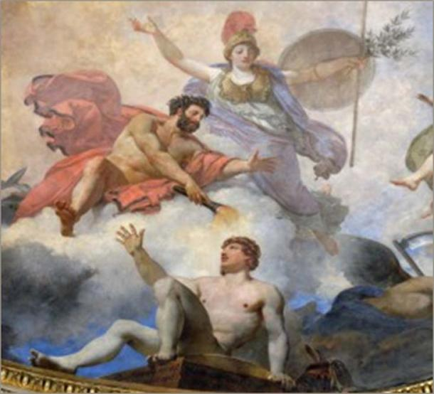 Prometheus creating man in the presence of Athena (detail), Painted in 1802 by Jean-Simon Berthélemy, painted again by Jean-Baptste Mauzaisse in 1826.