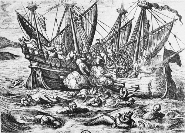 Propaganda print depicting Huguenot aggression against Catholics at sea, Horribles cruautés des Huguenots, 16th century.