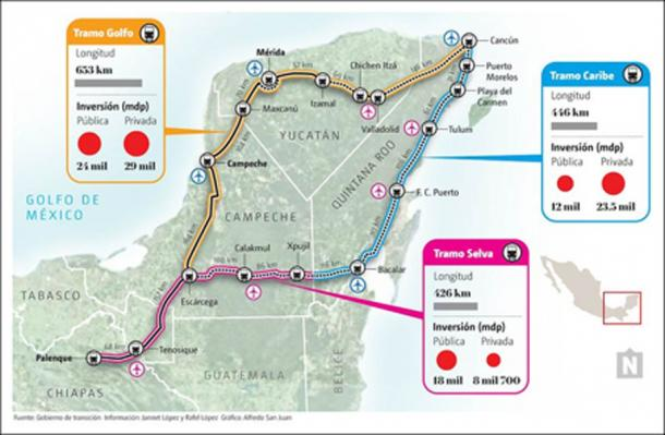 Proposed route of the new Maya train