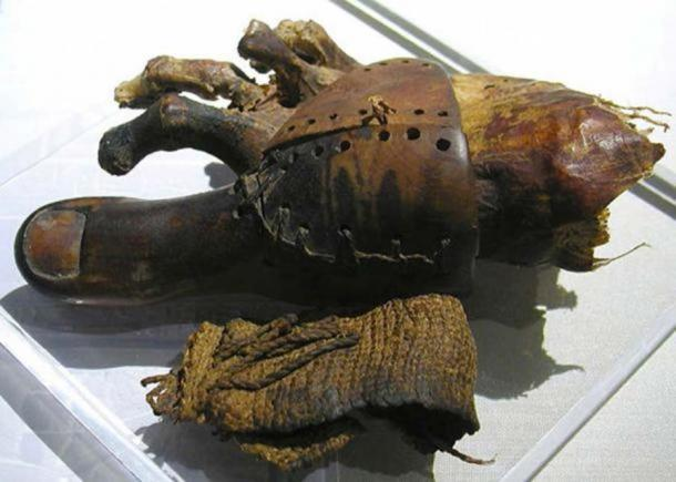 Prosthetic toe from the commoners' cemetery at Deir el-Medina of ancient Egypt, now in the Egyptian Museum in Cairo. The big toe is carved from wood and is attached to the foot by a sewn leather wrapping.