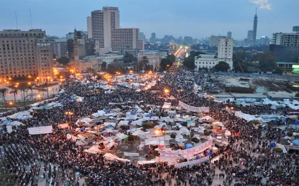 Protests at Tahrir Square in Cairo, Egypt, in 2011. This is the place that is proposed for the relocation of the ancient Egyptian sphinxes. (Jonathan Rashad / CC BY 2.0)