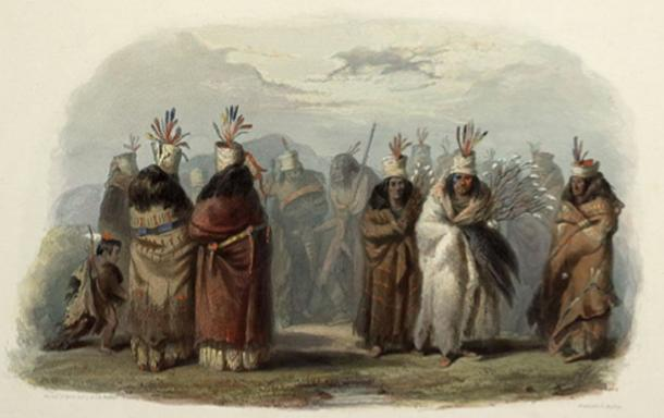 Ptihn-Tak-Ochatä - Dance of the Mandan Women by Karl Bodmer, 1840–1843.
