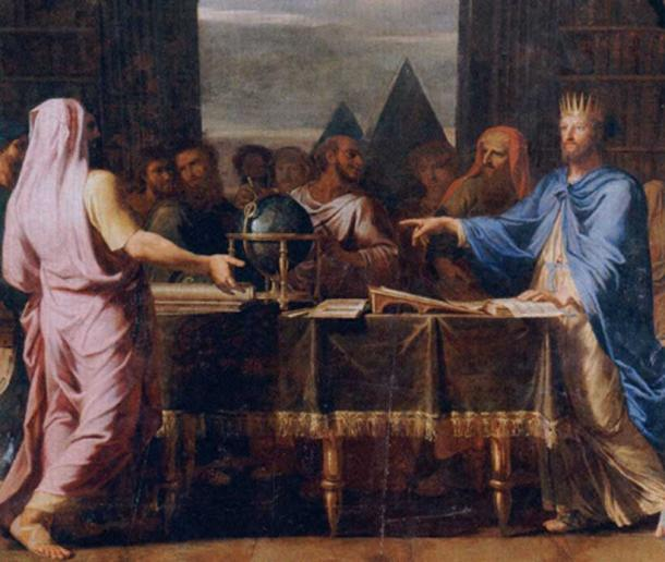 Ptolemy II Philadelphus talking with Jewish savants who translated the Bible for the great library of Alexandria. By Jean Baptiste de Champaigne