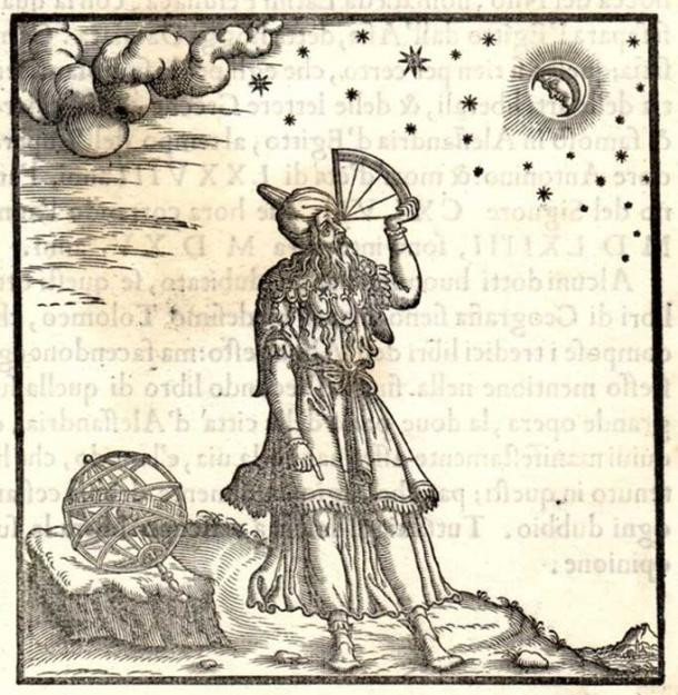 Depiction of Ptolemy employing a quadrant, from Giordano Ziletti's Principles of astrology and geography according to Ptolemy, 1564.