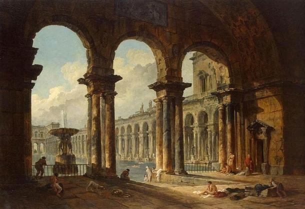 'Ancient Ruins Used as Public Baths' (1798) by Hubert Robert.