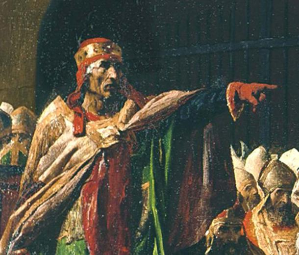 "Detail of Laurent's ""Public Prosecutor"", Pope Stephen VI, during the strange trial of the corpse of Pope Formoso. (Public Domain)"