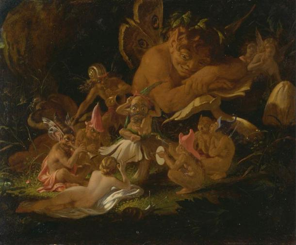 Puck and Fairies, detail from A Midsummer Night's Dream.